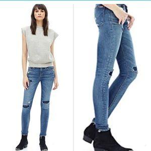 HUDSON Nico Midrise Super Skinny Ripped Jeans